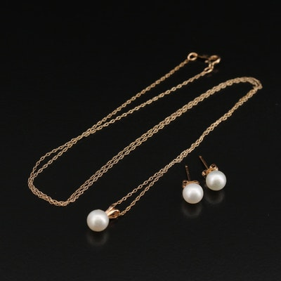 10K Pearl Necklace and Earring Set