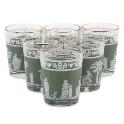 "Jeannette ""Hellenic Green"" Shot Glasses, Mid to Late 20th Century"