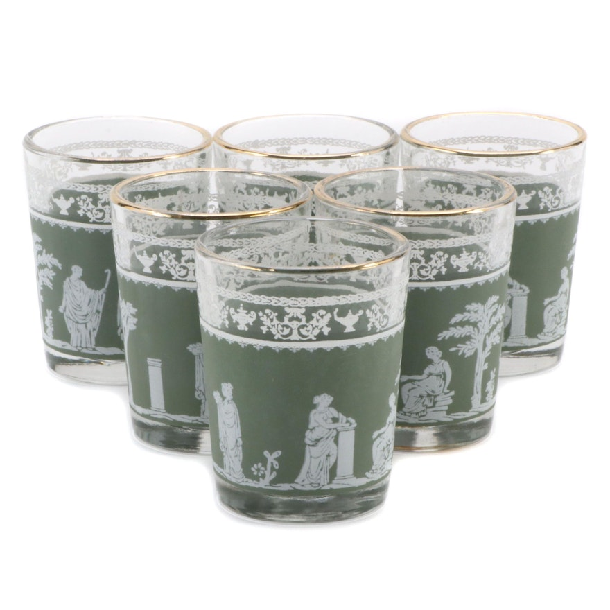 """Jeannette """"Hellenic Green"""" Shot Glasses, Mid to Late 20th Century"""