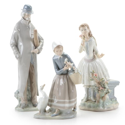 "Lladró ""Old Man,"" ""Shepherdess with Ducks"" and ""Exquisite Scent"" Figurines"