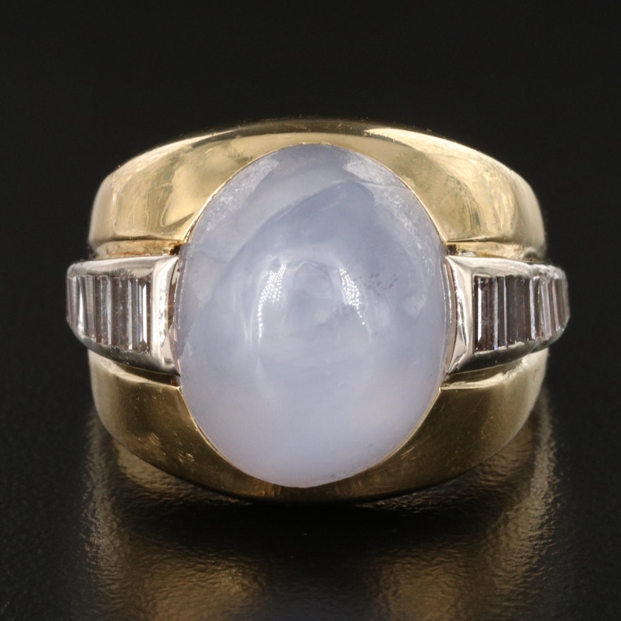18K 27.68 CT Star Sapphire and 1.17 CTW Diamond Ring with GIA Report