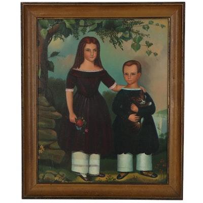 Folk Double Portrait Oil Painting, Circa 1900