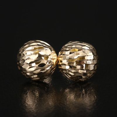 14K Dome Stud Earrings with Diamond Cut Finish
