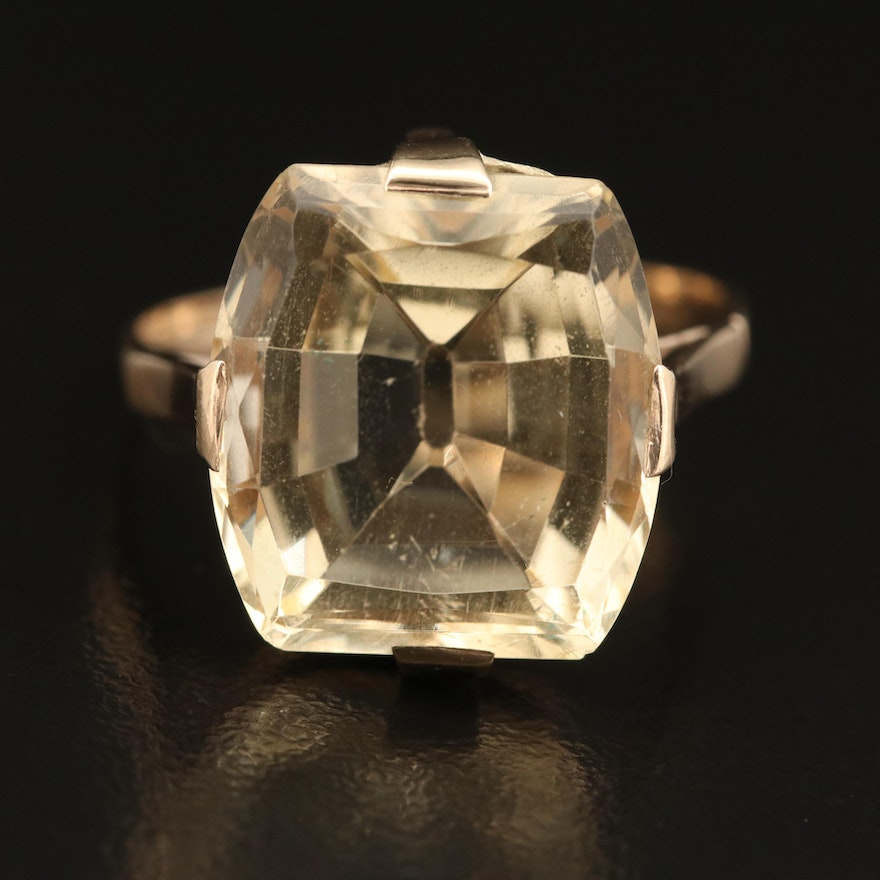 10K 9.43 CT Citrine Solitaire Ring