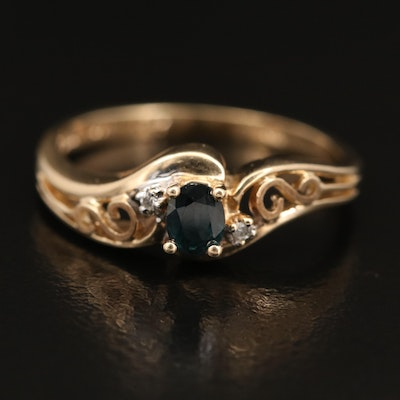 10K Sapphire and Diamond Ring with Scrollwork Shoulders