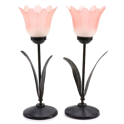 Pair of Metal and Pink Glass Tulip Style Table Lamps, Contemporary