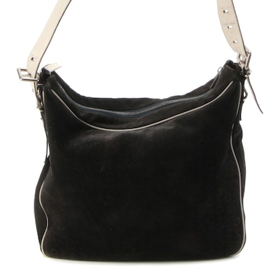 CELINE Logo Embossed Suede Shoulder Bag with Leather Trim
