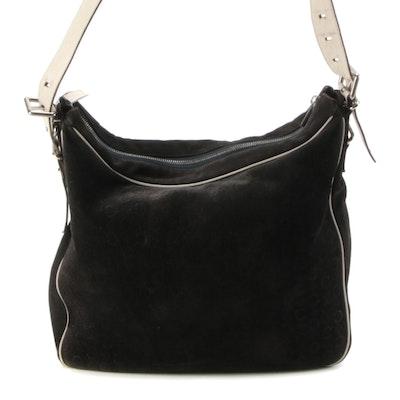CELINE Logo Embossed Suede Shoulder Bag with Leather Trim