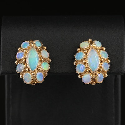 10K Opal Cluster Earrings