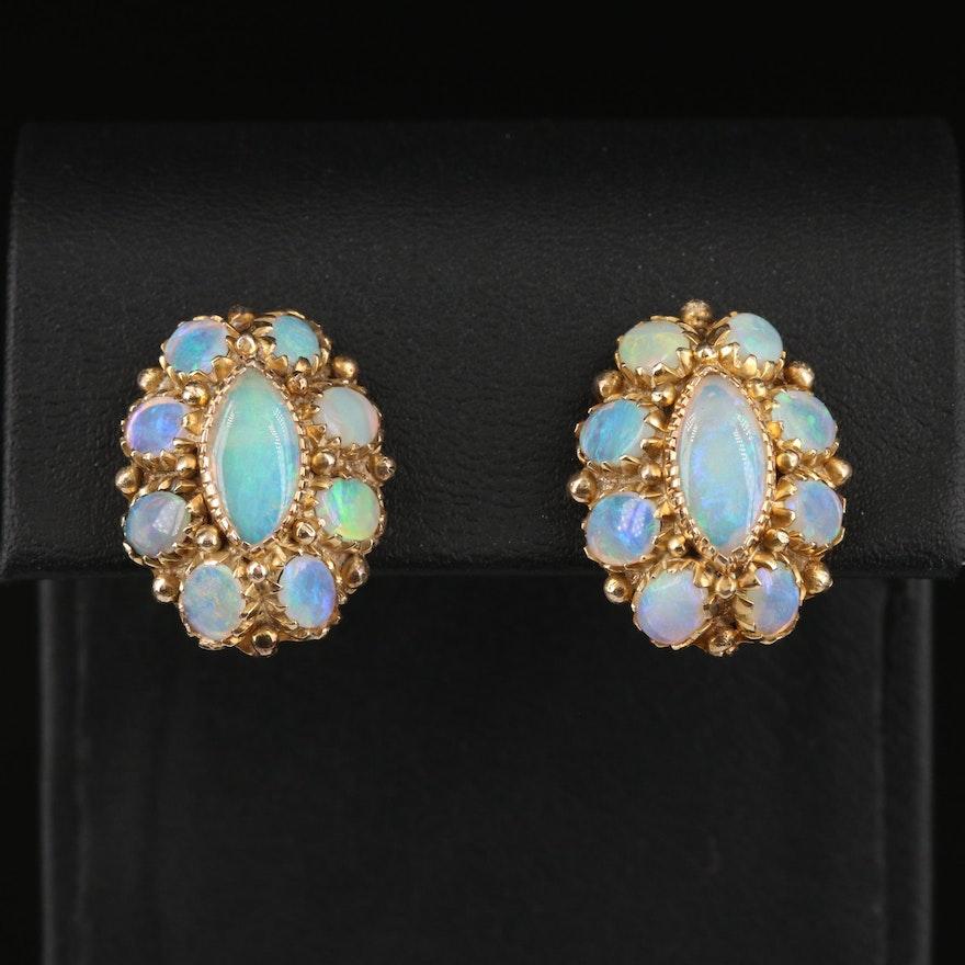 10K Opal Cluster Earrings