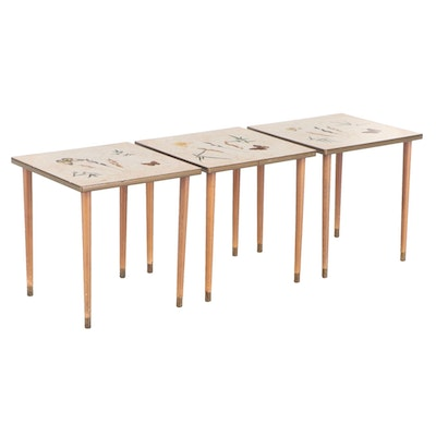 Three Mid Century Modern Butterfly-Decorated Laminate Top Side Tables