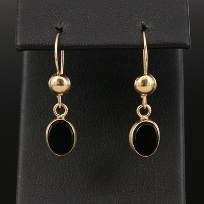 14K Black Onyx Oval Earrings