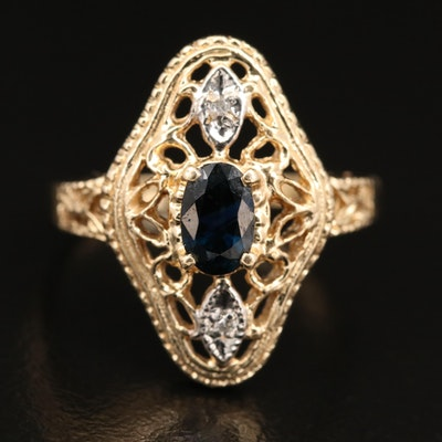 14K Sapphire and Diamond Openwork Ring