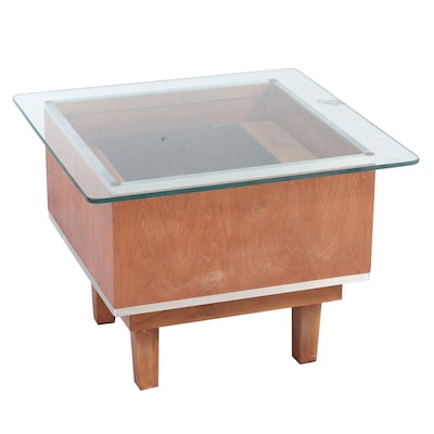 Glass Top Display Side Table, Mid-20th Century