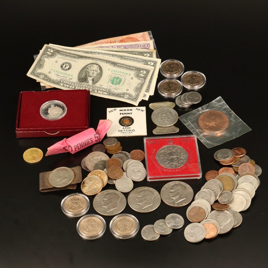Assorted Modern Coins and Currency