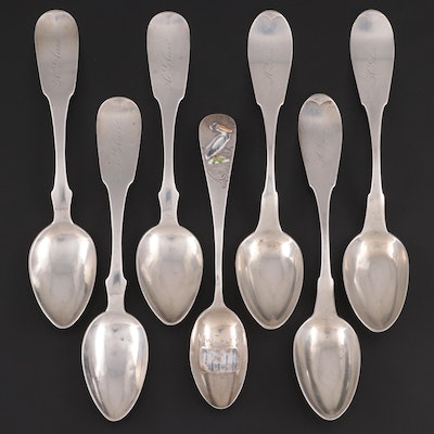 James Watts and James T. Scott and Co. Coin with Sterling Silver Spoons
