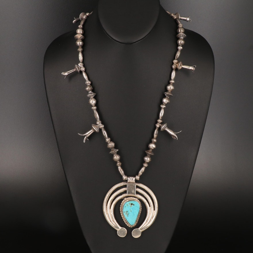Southwestern Sterling Turquoise Squash Blossom Necklace with Naja