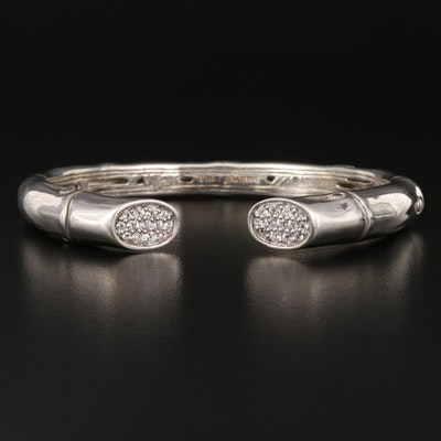 "John Hardy ""Bamboo"" Sterling Silver and Diamond Kick Cuff"