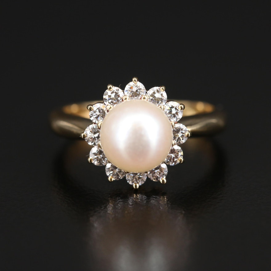 18K Pearl and Diamond Halo Ring