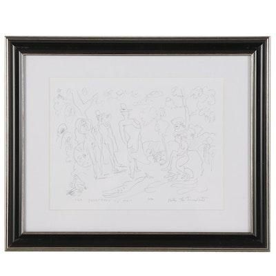 "Philip the Transplant Graphite Drawing ""The Judgement of Paris,"" 2020"