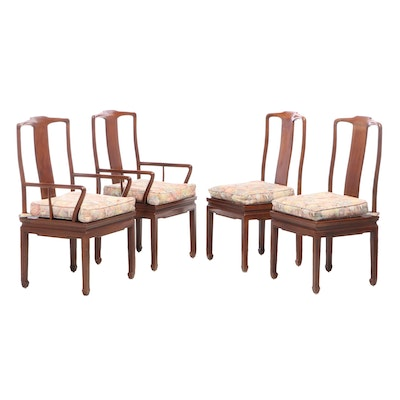Four Henredon Chinese Style Mahogany Dining Chairs, Late 20th Century