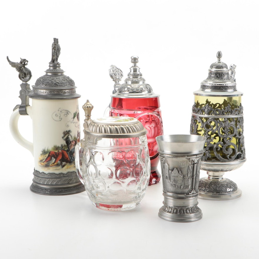 Haku Bierseidel and Other Beer Tankards with Souvenir Pewter Cup, Vintage