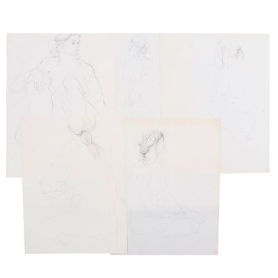 John Tuska Figural Graphite Drawings, Late 20th Century