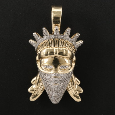 10K Lady Liberty Pendant with Pavé Diamond Face Mask