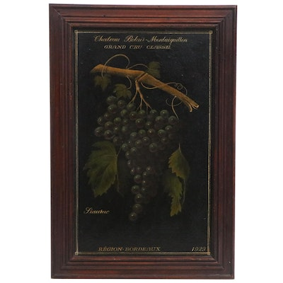 French Wine Oil Painting with Grapes, circa 1929