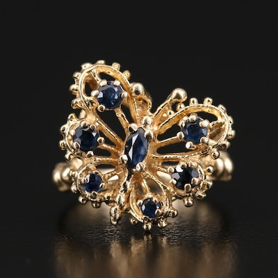 14K Sapphire Openwork Butterfly Ring