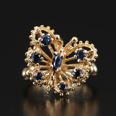14K Sapphire Openwork Butterfly Ring