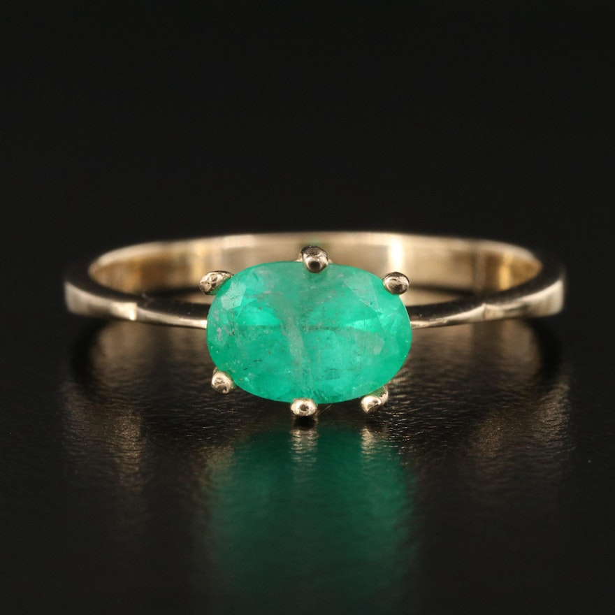 14K 2.04 CT Emerald East-West Ring