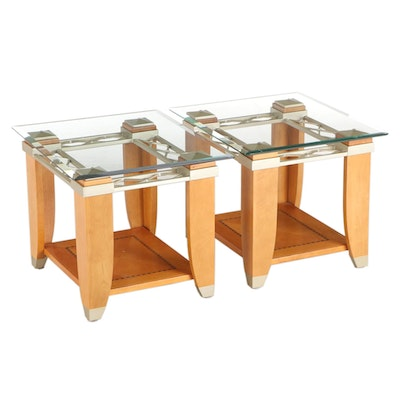 Contemporary Maple and Wood Inlaid Glass Top Side Tables