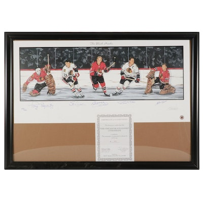 "Paul Madden Offset Lithograph ""The Black Hawks"" Signed by Bobby Hull and Others"