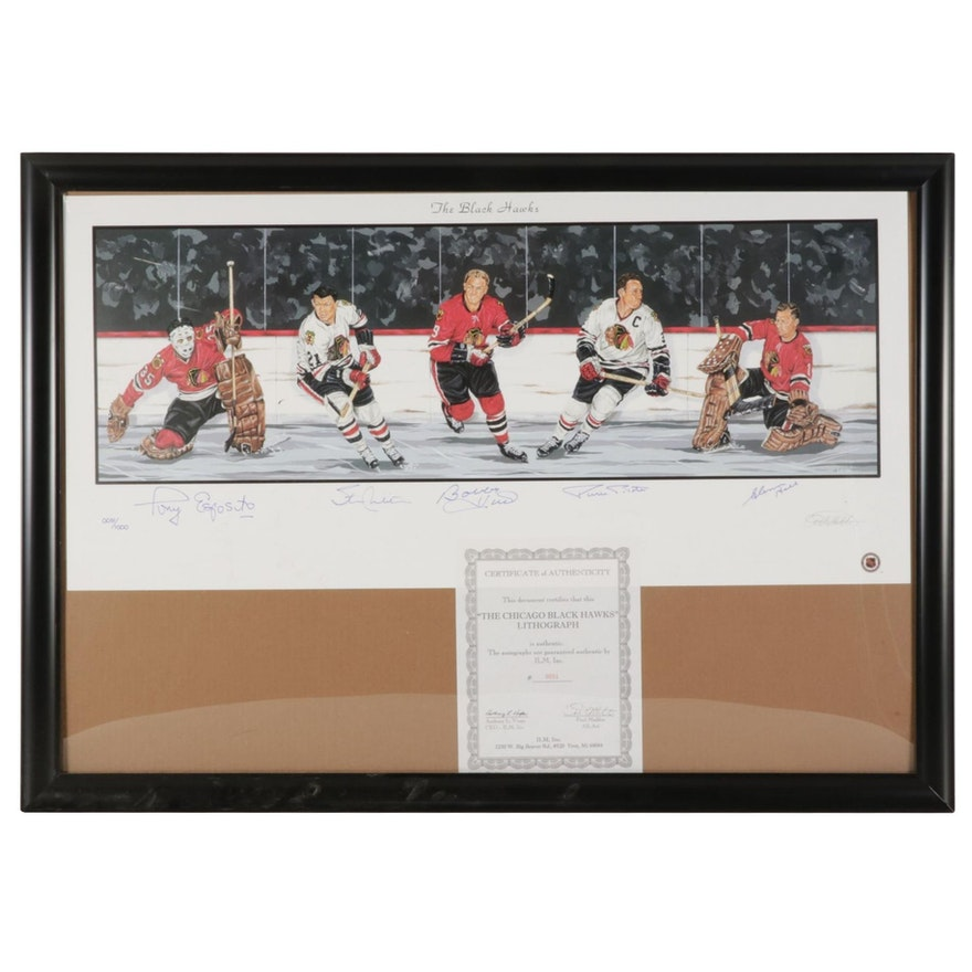 """Paul Madden Offset Lithograph """"The Black Hawks"""" Signed by Bobby Hull and Others"""