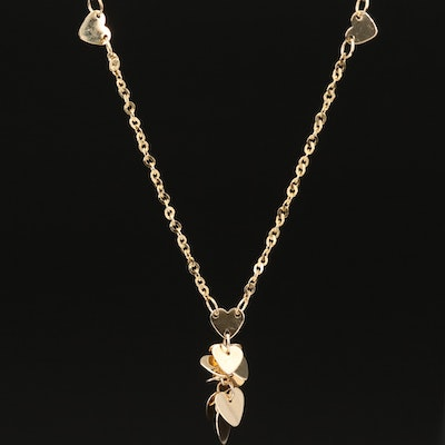 14K Heart Station and Cluster Drop Necklace