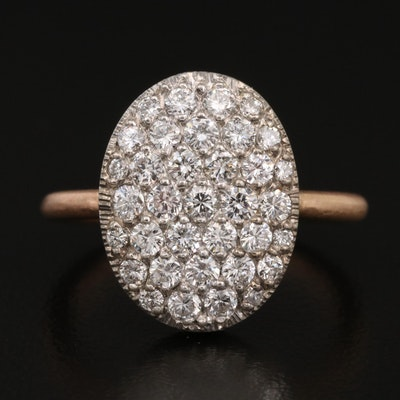 14K 1.02 CTW Pavé Diamond Ring with Matte Finish