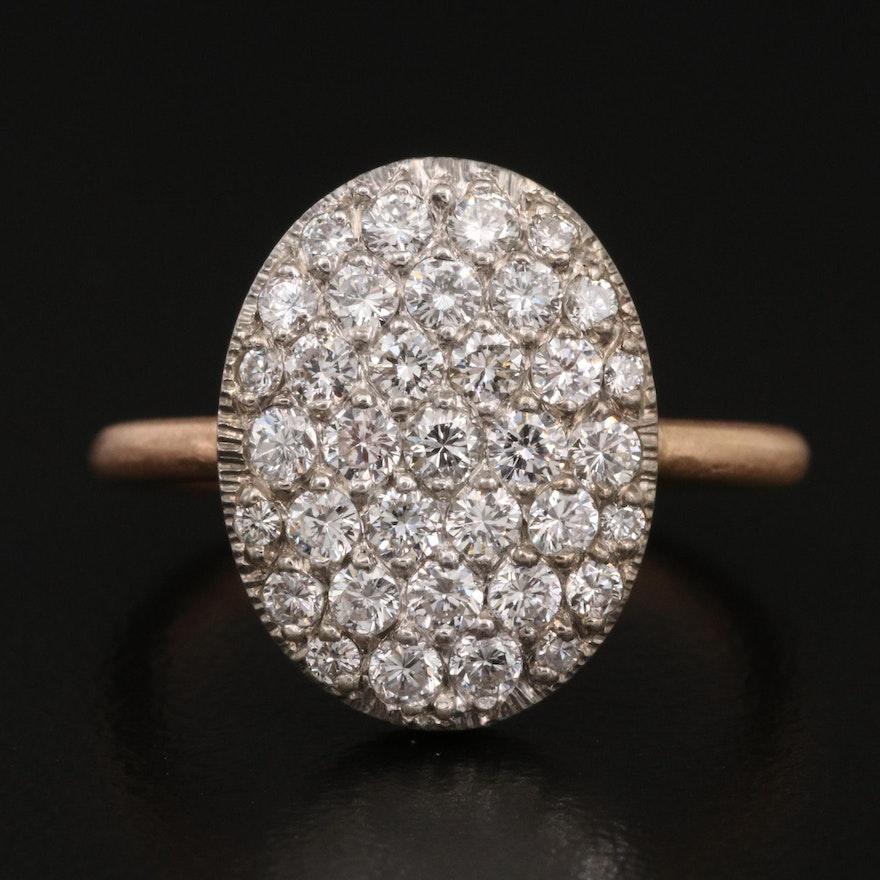 14K 1.02 CTW Pavé Diamond Ring with Matte Finish