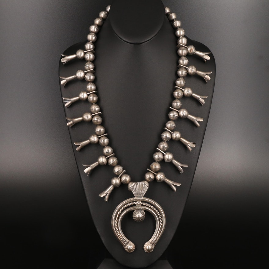 Southwestern Sterling Squash Blossom Necklace with Naja