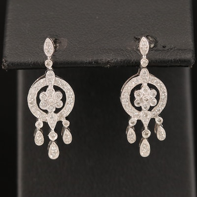18K Diamond Cluster Earrings