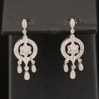 18K Diamond Cluster Earrings