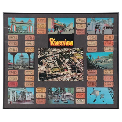 Framed Chicago Riverview Amusement Park Tickets, Prints, and Postcards