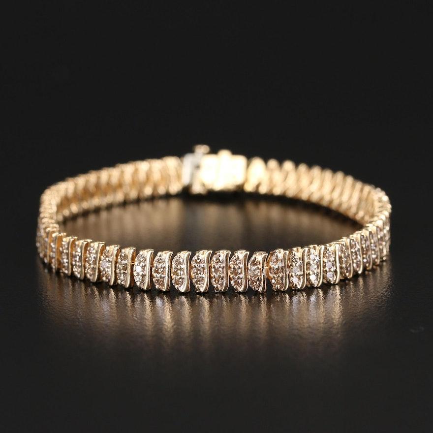 14K 3.10 CTW Diamond Multi-Row Bracelet