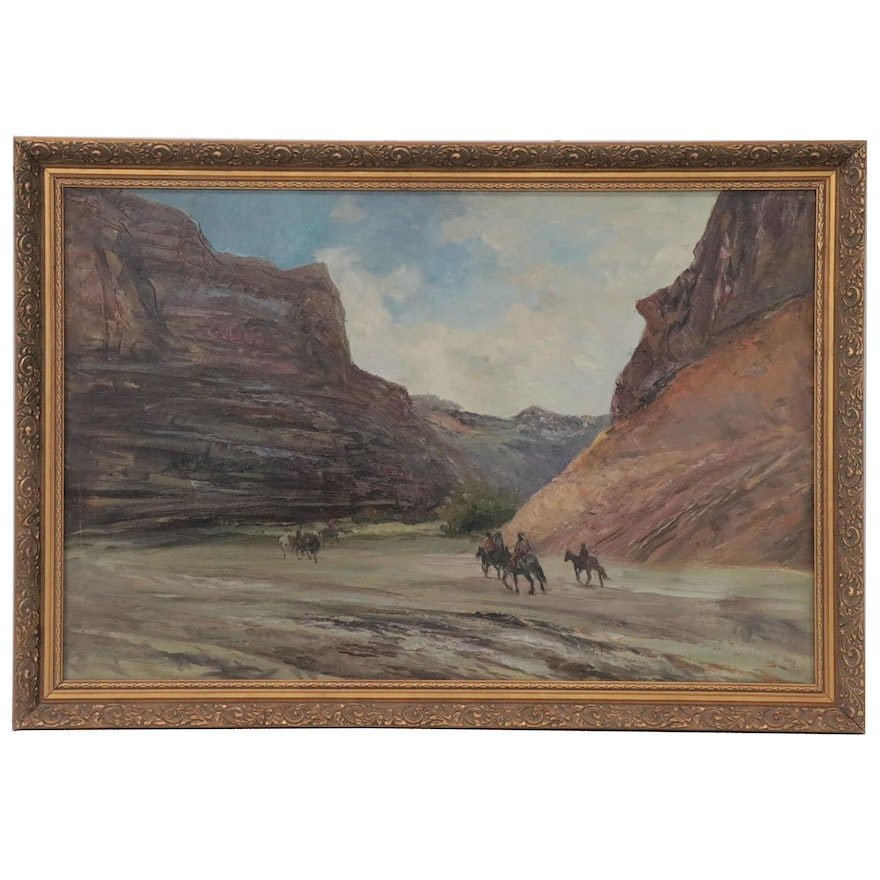 Oil Painting of Western Landscape, Late 20th Century