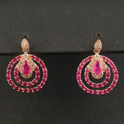 14K Ruby and Diamond Double Loop Earrings