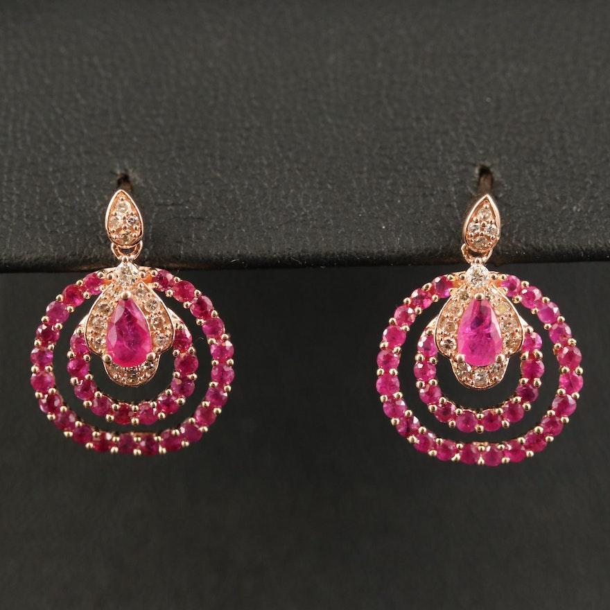 14K Ruby and Diamond Double Loop Earrings