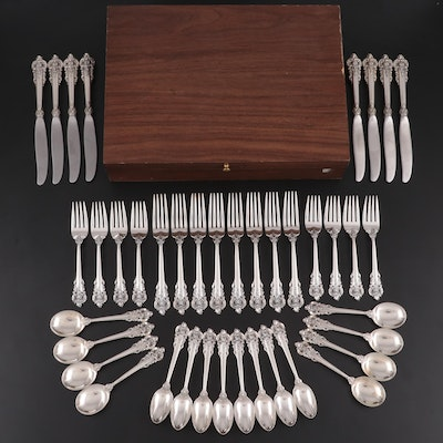 "Wallace ""Grand Baroque"" Sterling Silver Flatware and Wooden Chest"