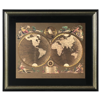 "Kafka Industries Gold Foil World Map after Antonio Zatta ""Il Mappamondo"""
