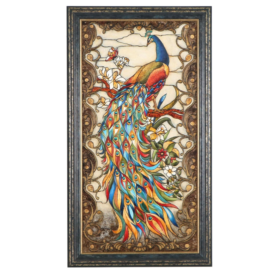 Edgar Barrios Acrylic and Oil Painting of Peacock, Late 20th Century