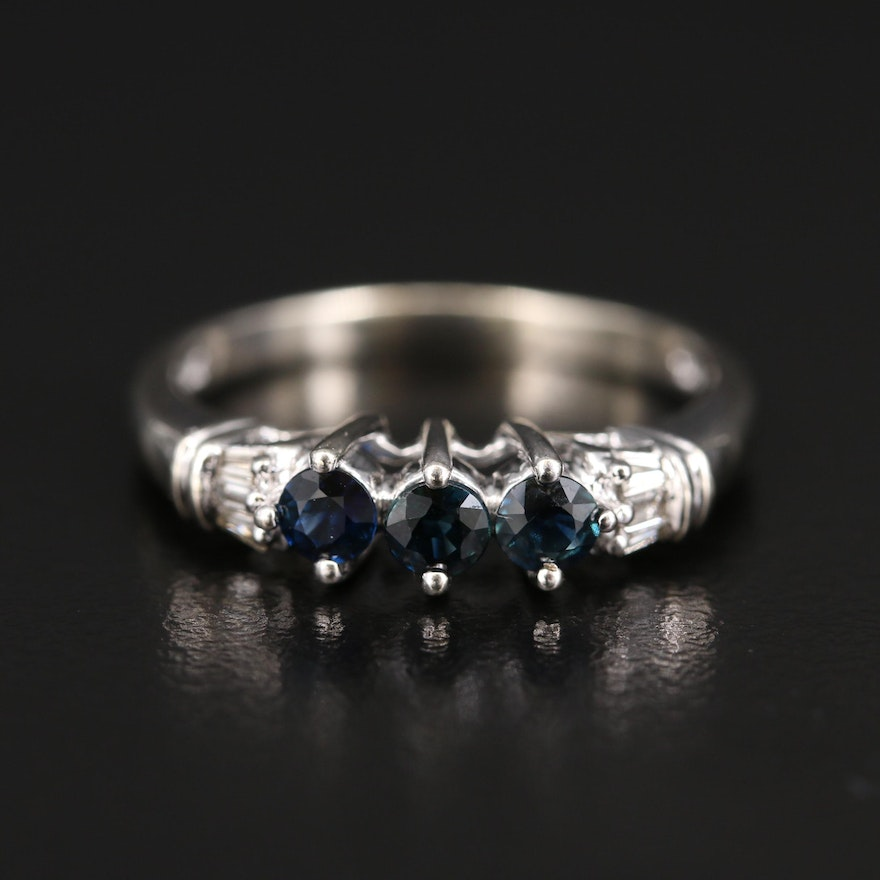 10K Sapphire and Diamond Ring with Open Gallery